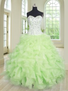 Best Yellow Green Organza Lace Up Sweetheart Sleeveless Floor Length Quince Ball Gowns Beading and Ruffles