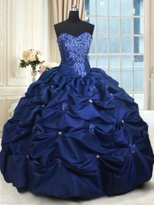 Custom Designed Navy Blue Lace Up Quinceanera Dresses Appliques and Pick Ups Sleeveless Floor Length