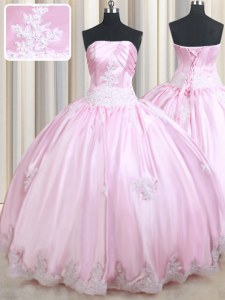 Strapless Sleeveless Quinceanera Gowns Floor Length Appliques Baby Pink Taffeta