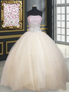Champagne Ball Gowns Tulle Strapless Sleeveless Beading Floor Length Lace Up Ball Gown Prom Dress