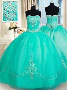 Cheap Ball Gowns Vestidos de Quinceanera Turquoise Strapless Organza Sleeveless Floor Length Lace Up