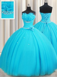 On Sale Aqua Blue Sleeveless Tulle Lace Up Sweet 16 Dress for Military Ball and Sweet 16 and Quinceanera