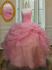 Luxurious Organza Sleeveless Floor Length Sweet 16 Quinceanera Dress and Embroidery and Pick Ups
