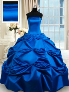 Captivating Taffeta Sleeveless Floor Length Ball Gown Prom Dress and Pick Ups