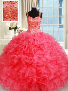 Trendy Straps Coral Red Sleeveless Organza Lace Up Sweet 16 Quinceanera Dress for Military Ball and Sweet 16 and Quinceanera