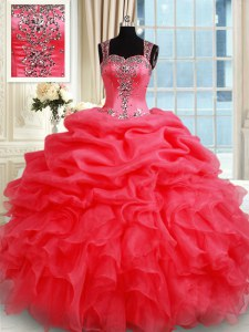 Popular Coral Red Straps Zipper Beading and Ruffles and Pick Ups Quince Ball Gowns Sleeveless