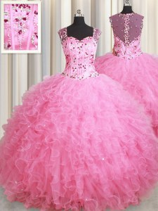 Straps Rose Pink Tulle Zipper Vestidos de Quinceanera Sleeveless Floor Length Beading and Ruffles