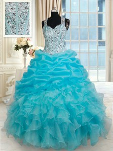 Straps Aqua Blue Sleeveless Beading and Ruffles and Pick Ups Floor Length Quinceanera Gowns