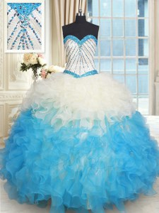Sleeveless Organza Floor Length Lace Up Sweet 16 Dresses in Multi-color with Beading and Ruffles