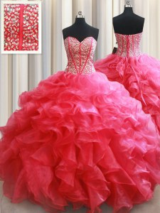Coral Red Sleeveless Organza Lace Up Quince Ball Gowns for Military Ball and Sweet 16 and Quinceanera