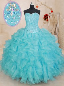 Vintage Ball Gowns Quinceanera Dress Aqua Blue Sweetheart Organza Sleeveless Floor Length Lace Up