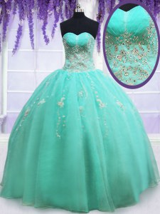 Hot Selling Sleeveless Floor Length Beading and Appliques Zipper Quinceanera Dresses with Apple Green