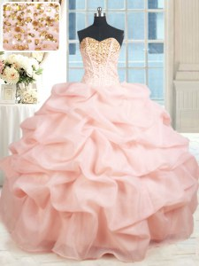 Latest Baby Pink Sleeveless Beading and Embroidery and Pick Ups Floor Length 15th Birthday Dress