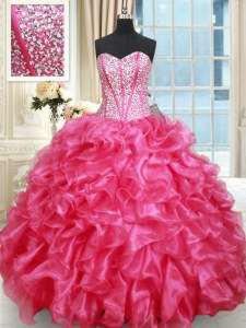 Ruffled Ball Gowns Sweet 16 Dress Hot Pink Sweetheart Organza Sleeveless Floor Length Lace Up