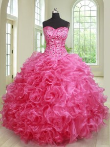 Clearance Floor Length Ball Gowns Sleeveless Hot Pink Quinceanera Gowns Lace Up
