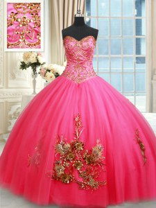 Beauteous Tulle Sleeveless Floor Length 15 Quinceanera Dress and Beading and Appliques