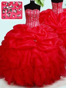 Floor Length Lace Up Sweet 16 Dresses Red for Military Ball and Sweet 16 and Quinceanera with Beading and Ruffles and Pick Ups