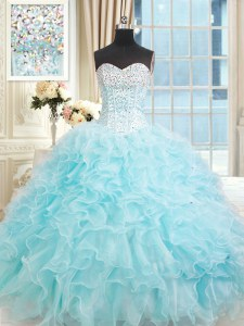 Organza Sweetheart Sleeveless Lace Up Ruffles 15th Birthday Dress in Light Blue