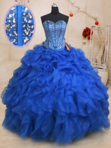 Customized Sleeveless Beading and Ruffles Lace Up Quinceanera Gowns