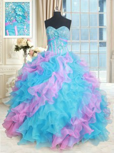 Affordable Multi-color Sleeveless Floor Length Beading and Appliques and Ruffles Lace Up Ball Gown Prom Dress