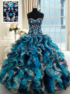 Multi-color Ball Gown Prom Dress Sweetheart Sleeveless Brush Train Lace Up
