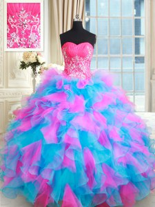New Style Sleeveless Beading and Ruffles Zipper 15 Quinceanera Dress