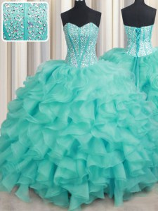 Organza Sweetheart Sleeveless Lace Up Beading and Ruffles 15 Quinceanera Dress in Turquoise