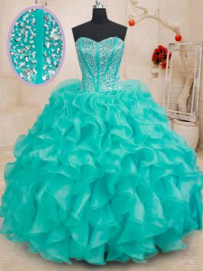Charming Turquoise Lace Up Vestidos de Quinceanera Beading and Ruffles Sleeveless Floor Length