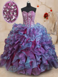 Sequins Floor Length Multi-color 15th Birthday Dress Sweetheart Sleeveless Lace Up