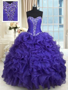 Purple Ball Gowns Organza Sweetheart Sleeveless Beading and Ruffles Floor Length Lace Up Quinceanera Dress