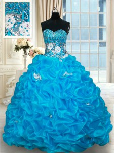 Fitting Baby Blue Ball Gowns Sweetheart Sleeveless Organza With Brush Train Lace Up Beading and Pick Ups Quinceanera Dresses