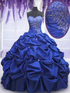 Eye-catching Beading and Pick Ups 15 Quinceanera Dress Royal Blue Lace Up Sleeveless Floor Length