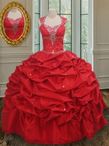 Extravagant Straps Red Taffeta Lace Up Quinceanera Dress Cap Sleeves Floor Length Beading and Pick Ups