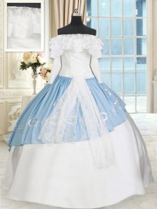 Cheap Blue And White Sweet 16 Quinceanera Dress Military Ball and Sweet 16 and Quinceanera and For with Lace and Bowknot Off The Shoulder Long Sleeves Lace Up