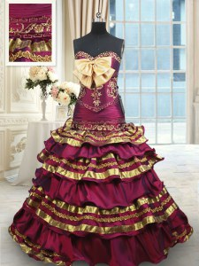 Luxury Beading and Ruffled Layers and Bowknot Sweet 16 Dresses Burgundy Lace Up Sleeveless With Brush Train