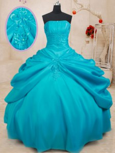 Most Popular Floor Length Ball Gowns Sleeveless Teal Ball Gown Prom Dress Lace Up