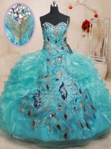 Best Selling Beading and Embroidery and Ruffles Ball Gown Prom Dress Teal Zipper Sleeveless Floor Length