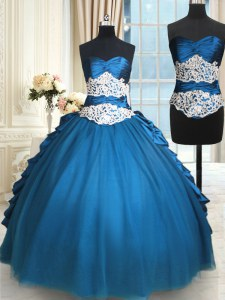 Noble Teal Ball Gowns Sweetheart Sleeveless Taffeta and Tulle Floor Length Lace Up Beading and Lace Quinceanera Dresses