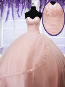 Baby Pink Ball Gowns Tulle Sweetheart Sleeveless Beading and Appliques Floor Length Lace Up Sweet 16 Dresses