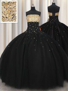 Beading Quinceanera Gown Black Lace Up Sleeveless Floor Length