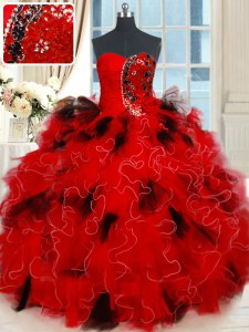 Glittering Black and Red Sleeveless Floor Length Beading and Ruffles and Sequins Lace Up Ball Gown Prom Dress
