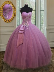 Lilac Ball Gowns Sweetheart Sleeveless Tulle Floor Length Lace Up Beading and Belt Sweet 16 Dress