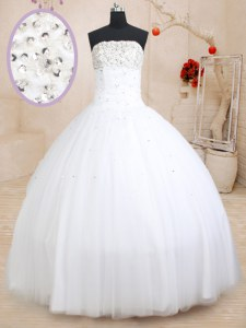 Dynamic Sleeveless Lace Up Floor Length Beading Quinceanera Gowns