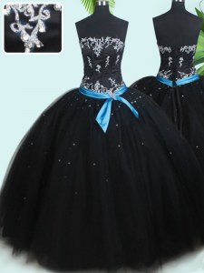 Sleeveless Tulle Floor Length Lace Up Quinceanera Gown in Black with Beading and Belt