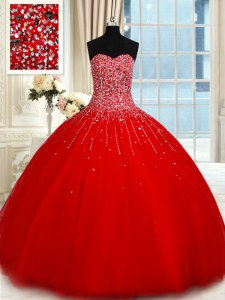 Top Selling Red Lace Up Sweetheart Beading Sweet 16 Dress Tulle Sleeveless