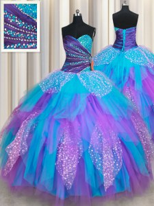 Fine Multi-color Sweetheart Neckline Beading and Ruffles 15 Quinceanera Dress Sleeveless Lace Up