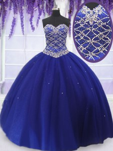 Sweetheart Sleeveless Tulle Quinceanera Gown Beading Lace Up