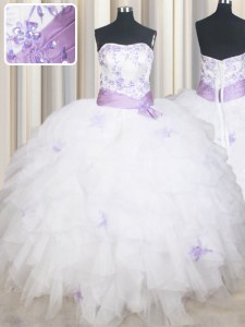 White Sleeveless Floor Length Beading and Ruffles and Belt Lace Up Quinceanera Gowns
