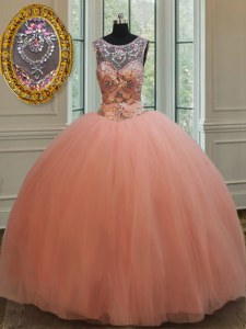 Scoop Tulle Sleeveless Floor Length Quinceanera Dresses and Beading and Sequins