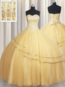 Colorful Gold Sweetheart Neckline Beading and Sequins Quince Ball Gowns Sleeveless Lace Up